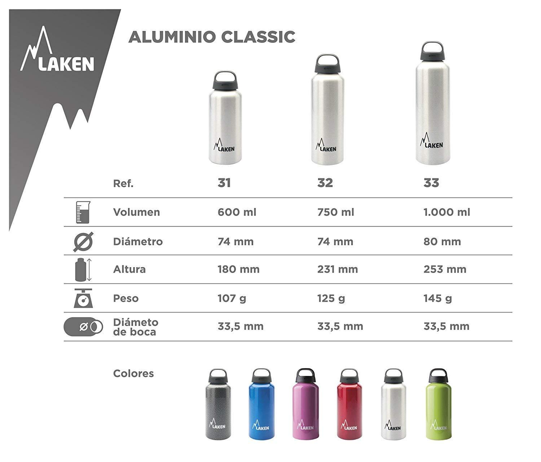 Laken Classic Aluminium Orange 1 Liter Adultos Unisex ALU 1 L-Naranja Bpa Frei BOT