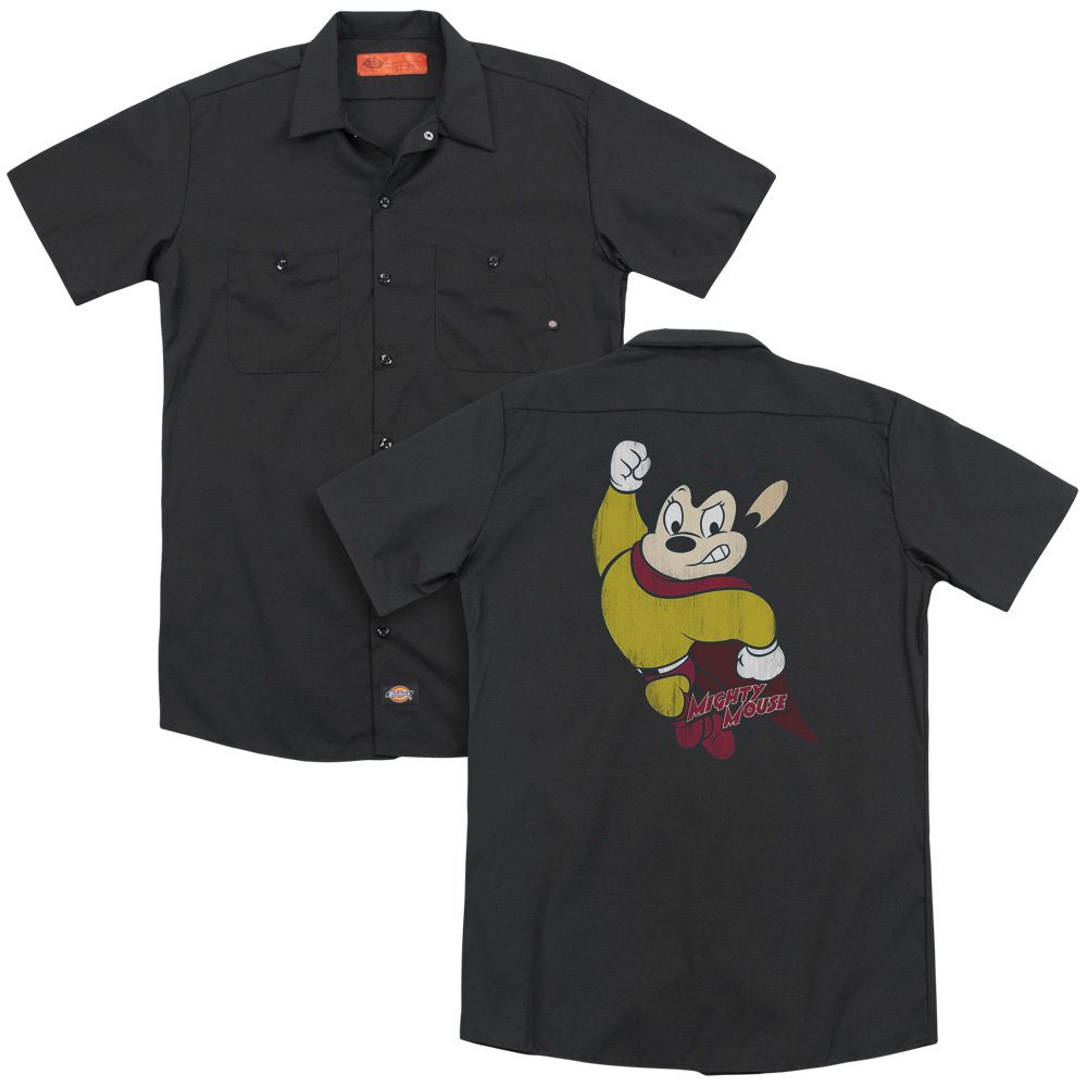 Mighty Mouse Classic Hero Adult Work Shirt