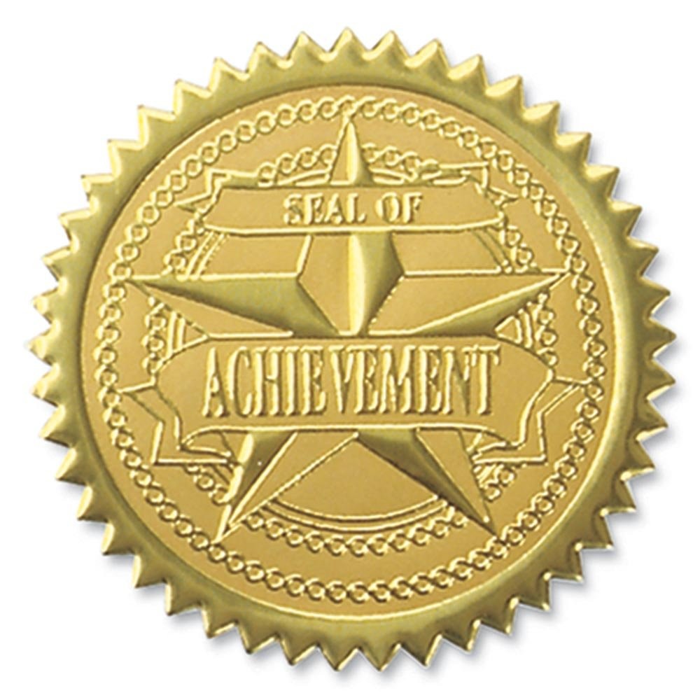 Seal of Achievement Embossed Gold Foil Certificate Seals, 2 Inch, Self Adhesive, 102 Count