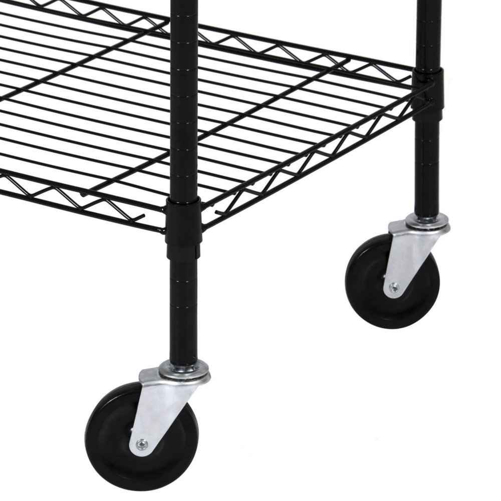 Durable Constructed 6-Tier Steel Shelving Storage Organizer Adjustable With Castor Wheels - Black Finish #1145 by Koonlert@shop (Image #4)