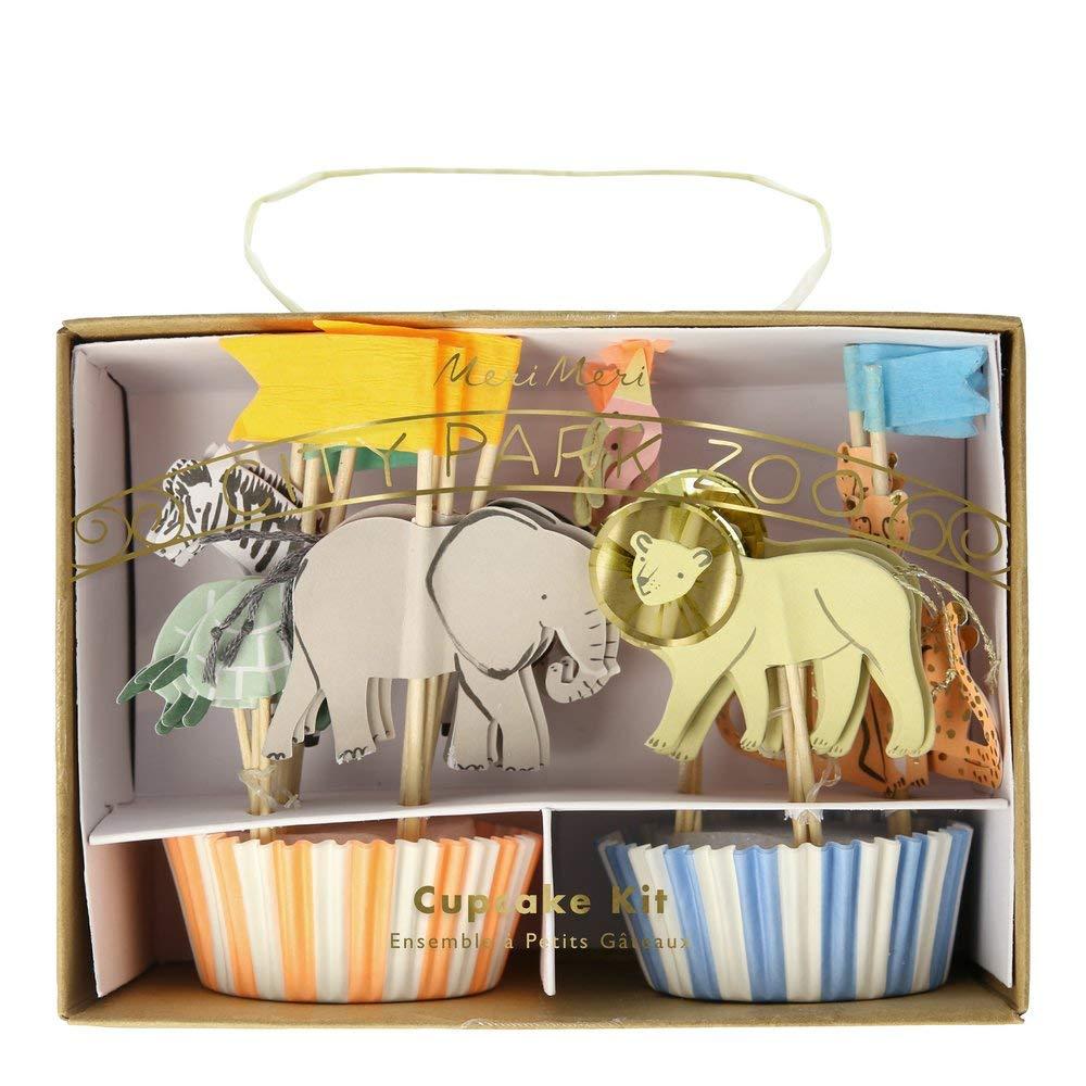 Meri Meri Cupcake Safari Tiere 24 Set Dschungel Muffin-F/örmchen und Topper I Kuchendekoration Muffindeko