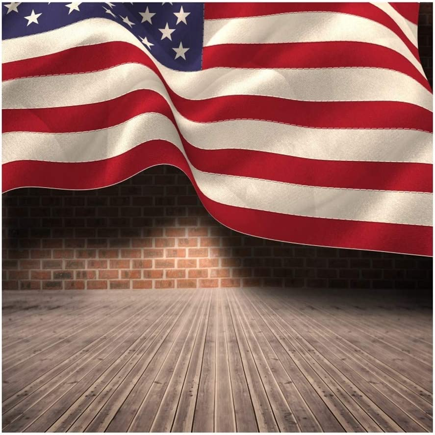 Yeele 4x4ft Happy Independence Day Photography Background American Flag Brown Wooden Plank Red Brick Wall July 4th Photo Backdrop Studio Props Video Drape