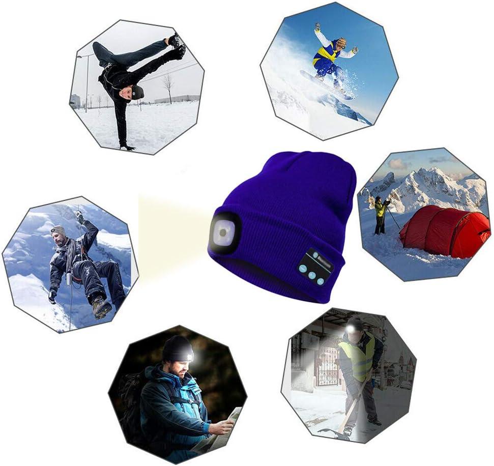 TAIPPAN Winterm/ütze mit Licht Beanie M/ütze Bluetooth Cap Warme LED M/ütze Wireless Smart Cap Headset Kopfh/örer Lautsprecher f/ür Outdoor Camping Night Running Angeln
