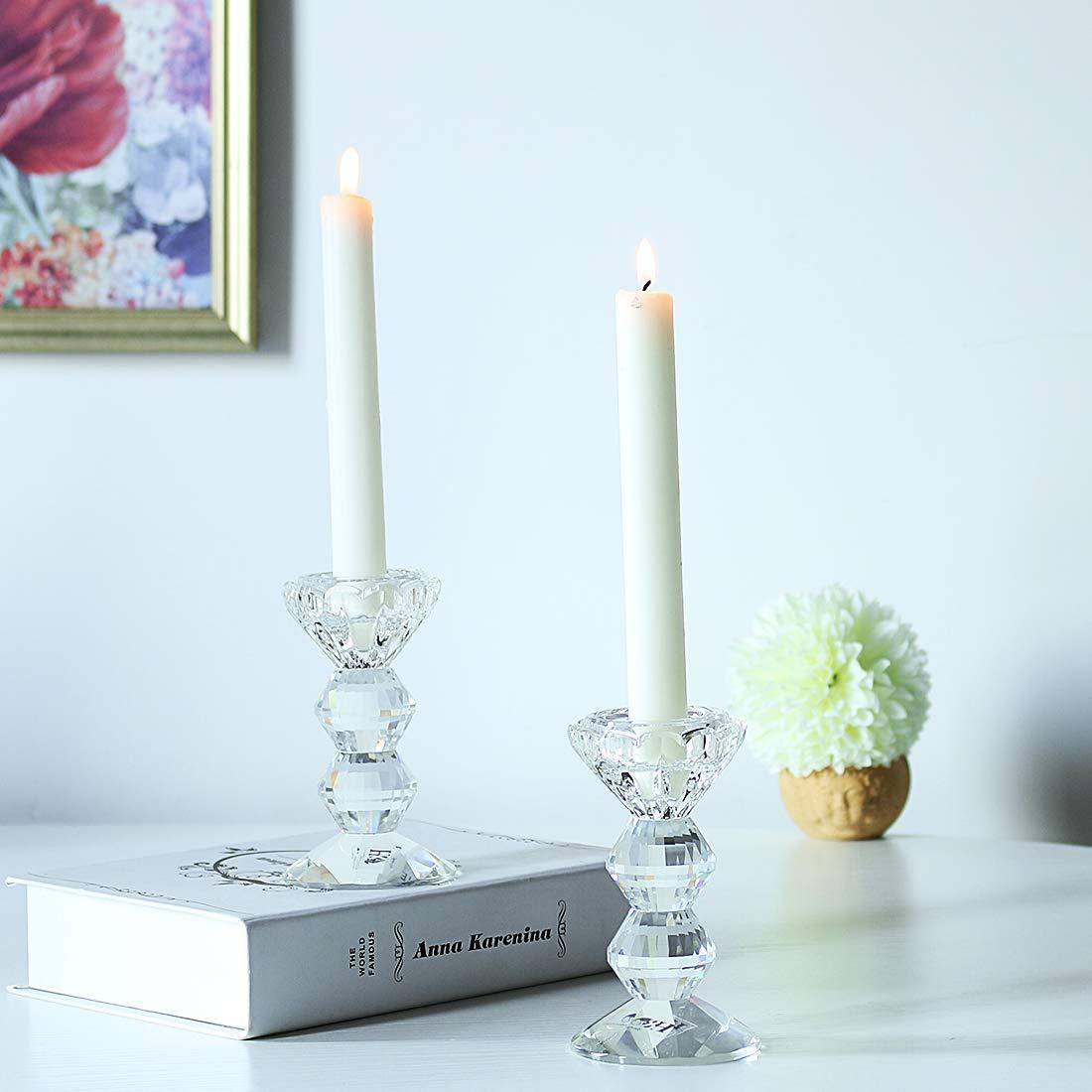 ideale per festa di nozze casa cena centrotavola Sconosciuto H /& D artigianale candela cilindrica di cristallo trasparente e portacandele pezzi