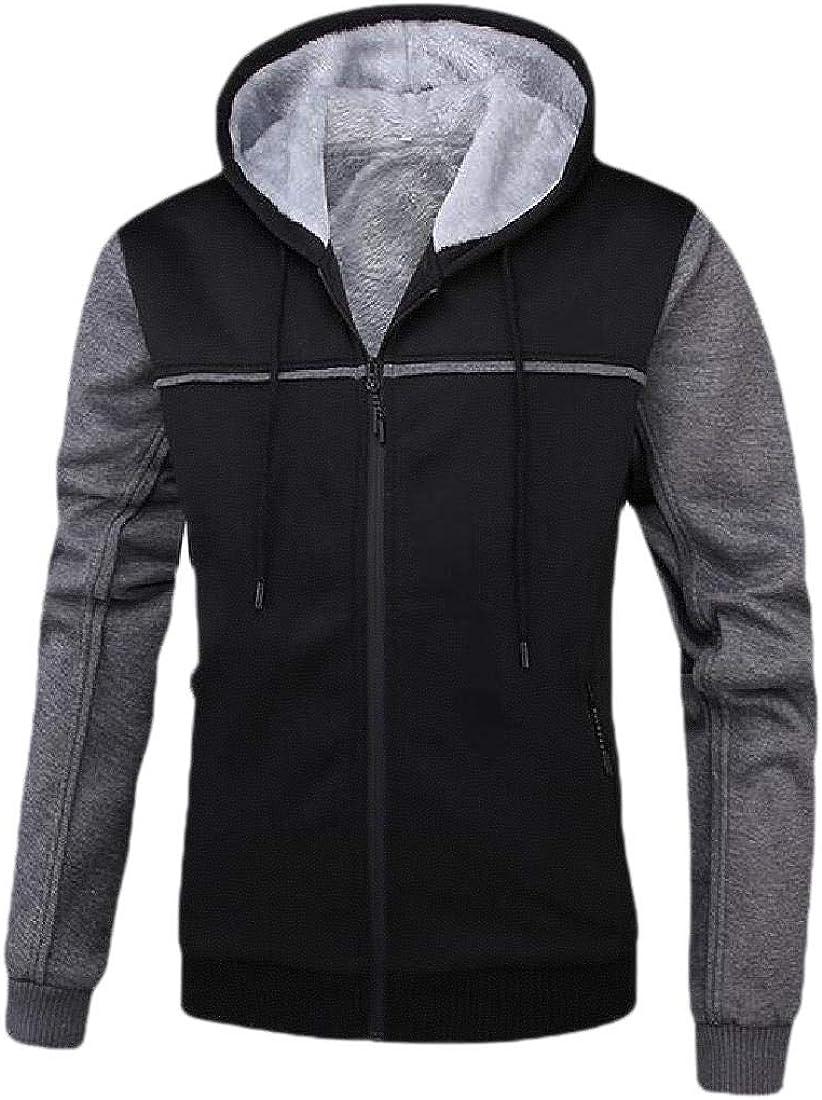 yibiyuan Mens Casual Long Sleeve Color Block Patchwork Thicken Warm Zipper Hooded Sweatshirt Coat Jacket