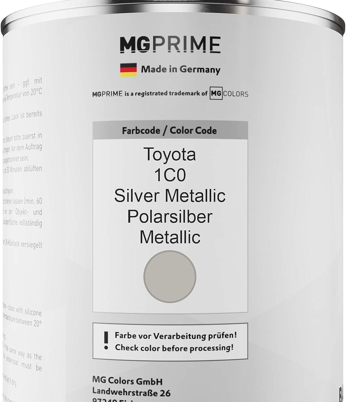 Mg Prime Autolack Dose Set Für Toyota 1c0 Silver Metallic Polarsilber Metallic Basislack 2k Klarlack Härter Spritzfertig 2 5l Auto