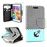 CoverON® for Samsung Galaxy Core Prime / Prevail LTE Wallet Case [CarryAll Series] Flip Credit Card Phone Cover Pouch with Screen Protector and Wristlet Strap - Blue chevron anchor