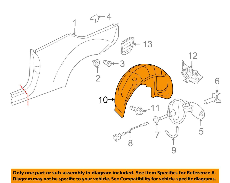 Volkswagen VW OEM 07-16 Eos Rear-Fender Liner Splash Shield Right 1Q0810972A