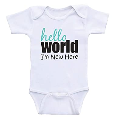 7961feafd1e Amazon.com  Iliogine Hello World I m New Here Newborn Boys Girls ...