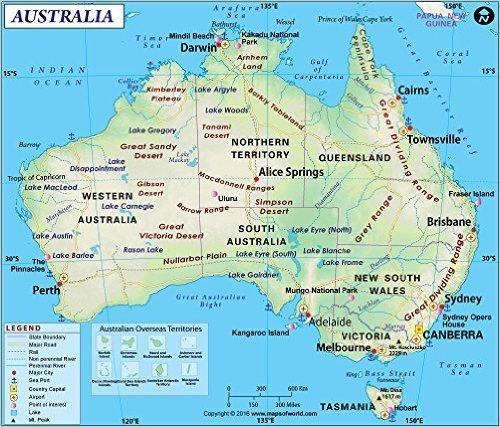 Map Of Australia 2016.Amazon Com Australia Map Laminated 36 W X 30 75 H