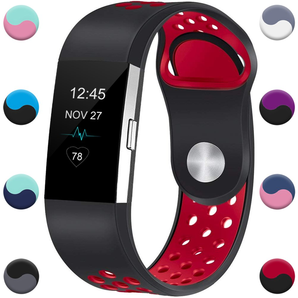 Geak Fitbit Charge 2バンド、交換アクセサリーバンドfor Fitbit Charge 2、クラシックリストバンド安全なシリコンファスナーメタルClasps for Fitbit Charge 2 B07BF9BTXY ブラック/レッド Small for 5.5\