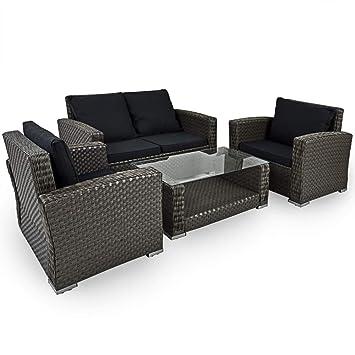 Amazonde Deuba Poly Rattan Lounge Set Grau I 7cm Dicke Auflagen I