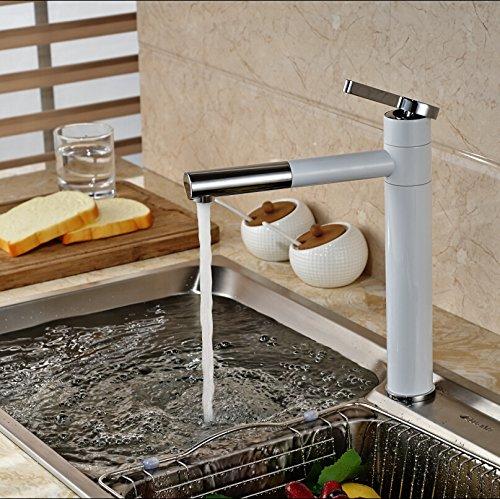 5151buyworld Top Qualität Wasserhahn gegrillten Weiß Paint One Loch Deck Mount Rotation Auslauf küche Waschbecken Mixer Wasserhahn Wasser tapsfor Badezimmer Küche Home Gaden (begriffsklärung)