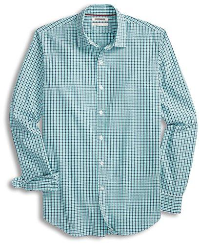 Goodthreads Men's Slim-Fit Long-Sleeve Two-Color Gingham Shirt, Blue/Aqua, XX-Large