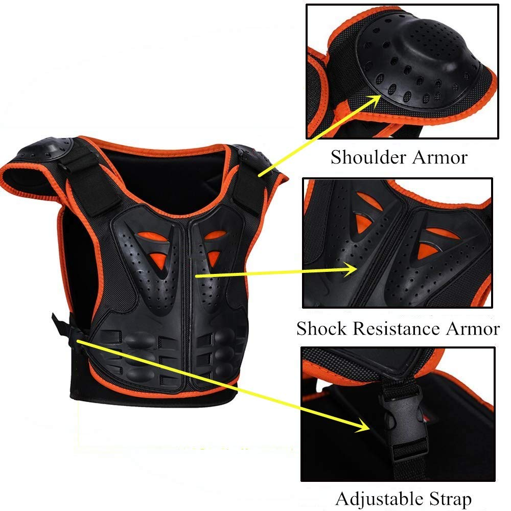 Kids Body Chest Spine Protector Armor Protective Vest Reflective Gear For Dirt Bike Skiing Skating Sport Size Medal by color tree (Image #4)
