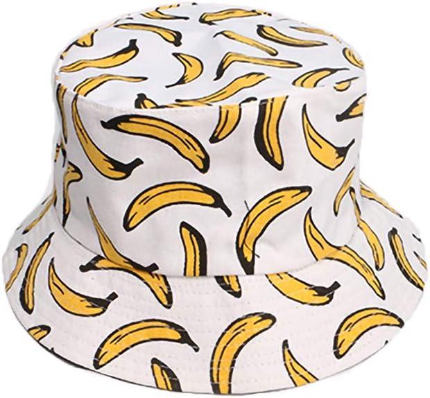 Blanco Patr/ón de pl/átano Unisex Dos Lados Use Sombrero de Pescador de Color Puro Sombrero de Lavabo de sombrilla Sombrero de Sol Sombrero de Verano Plegable Sol de Sun