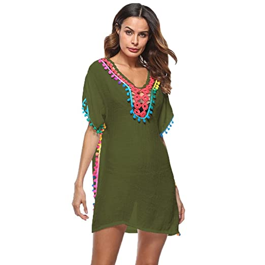 fcd673b1fa Sumen Women Stylish Tassel Swimsuit Cover Up Beach Sunscreen Tunic Tops  Bikini Smock (Free Size