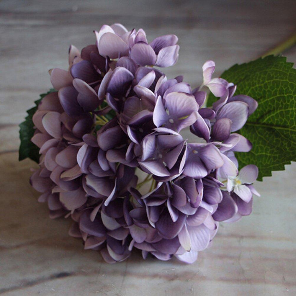 YJベアシルク人工アジサイ属フラワーオフィス装飾ホーム装飾洗濯可能DIY花for Wedding Bouquetsパーティー 1 Bunch(6 Flowers) パープル US-33-540815170510-zise B074Z6P5RZ パープル 1 Bunch(6 Flowers)