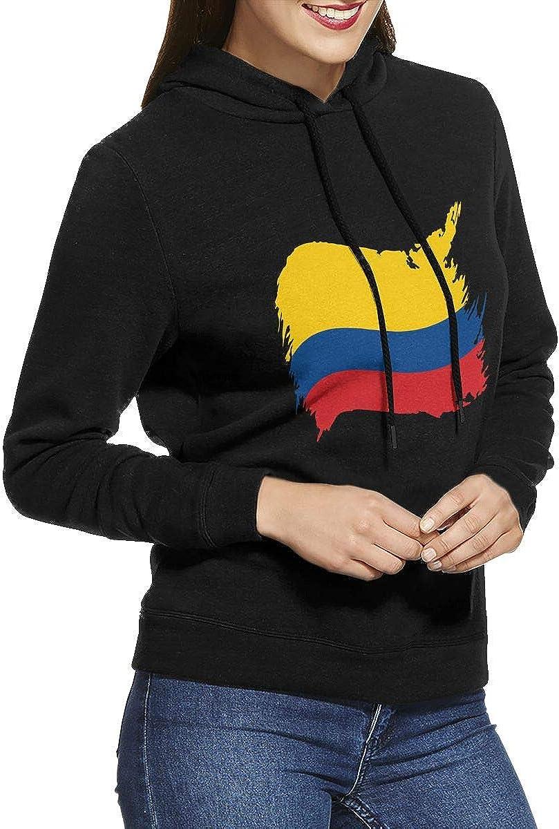 NVWEIYIJW Colombia Flag Pullover Hoodie Womens Long Sleeve Tops Hooded Sweatshirts