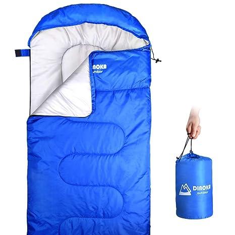 DINOKA Saco De Dormir para Acampar - Bolsa de Dormir 3 Estaciones Clima Cálido y Fresco,Ligero, Impermeable para Adultos y Niños - para Equipo De ...