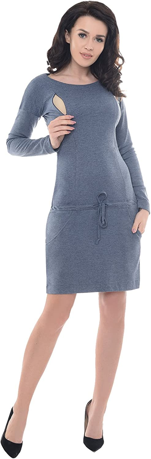 Purpless Maternity Pregnancy and Nursing Casual Woman Dress with Pockets B6204