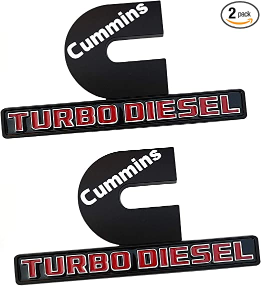 2pcs Small Size Genuine Cummins Turbo Diesel Emblems Matte Black Origianl Size Output Decal Badges Replacement for 2006-2018 2500 3500 Nameplate Fender Emblems