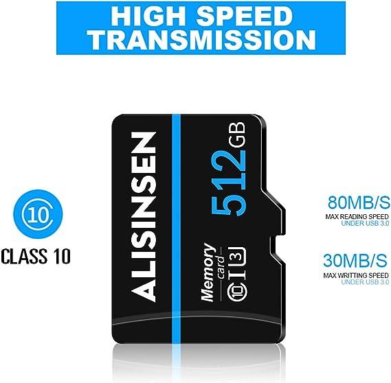 512GB High Memory Class 10 Micro SD Card 512 GB Speicherkarte SDXC Card Micro TF Card Transflash mit Free SD Adapter f/ür Smartphones und andere Ger/äte