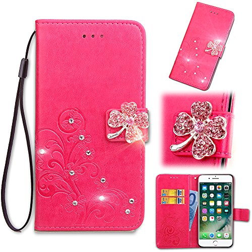 4s Cross (iPhone 4S Wallet Case,HAOTP Beauty 3D Glitter Sparkly Bling Crystal Rhinestone Lucky Flower Emboss PU Flip Stand Credit Card ID Holders Wallet Leather Protector for iPhone 4 / 4S Rose)