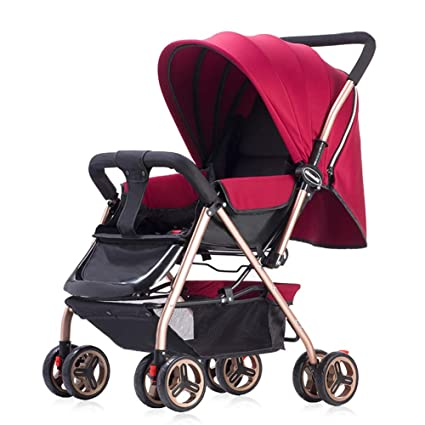 Yhz@ Cochecito de bebé Ligero Portable High Landscape Puede Sentarse y acostarse Plegable Simple Handle Reversible Suspension Neonatal Buggy Baby ...