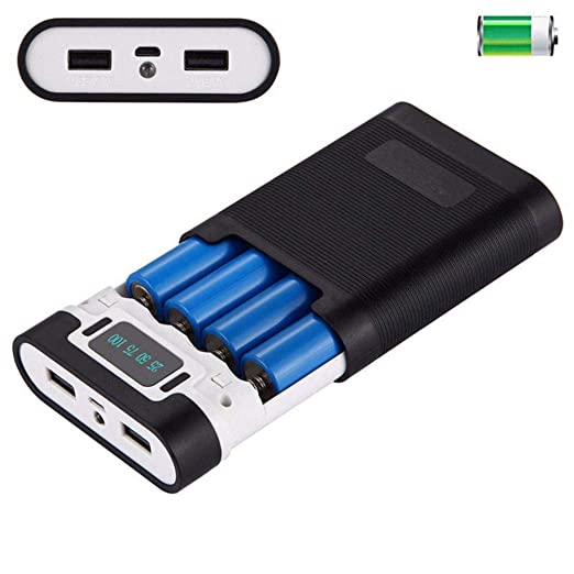 XISTORE Power Bank DIY Nesting Battery Case DIY Kit 4 x 18650 Cargador de batería Soporte USB Power Bank Box Carcasa para Smartphone Negro, Blanco, ...