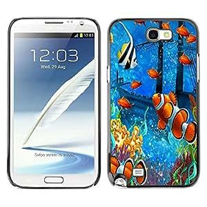 Caucho caso de Shell duro de la cubierta de accesorios de protección BY RAYDREAMMM - Samsung Galaxy Note 2 N7100 - Fish Painting Underwater Sea Coral Koi