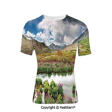 4c055fa489a83 Fashion Printed T-Shirts Mountain Valley Path of Life Alone Zen Dawn ...