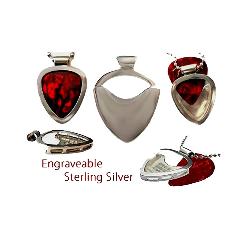 Pickbay .925 Sterling Silver Guitar Pick Holder Pendant Set with Silver Snake Chain & Adjustable Ball Chain Necklace & Pick Set