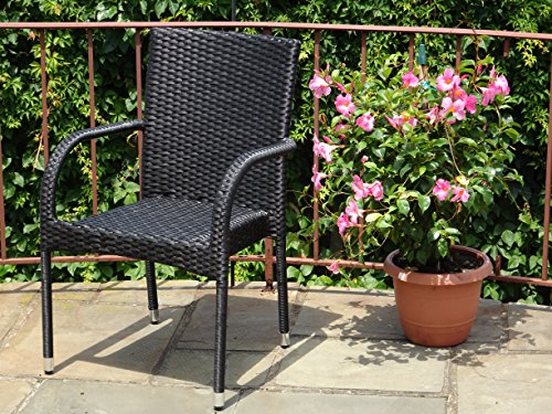 Patio Resin Outdoor Wicker Arm Chair. Garden, Sunroom, Deck, Balcony Furniture. Black Color (Garden Chair Dining Room Classics)