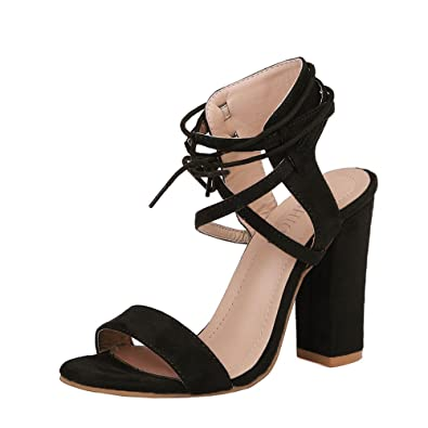 fd424211667 Womens Ladies Block Large Size Strappy High Heel Sandals Platforms Bandage  Shoes Buckle Dress Work Party Court Shoes High Heels Summer Black   Amazon.co.uk  ...
