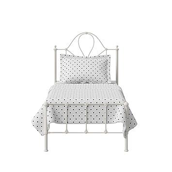 The Original Bed Co. Cama de Metal Athena Marco de Cama de Hierro con Listones de Madera Maciza 90 x 190 cm Marfil Brillante: Amazon.es: Hogar