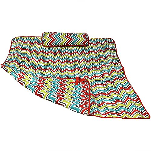 Large Hammock Pillow - Sunnydaze Weather-Resistant Outdoor Polyester Quilted Hammock Pad and Pillow Only Set, Chevron Stripe