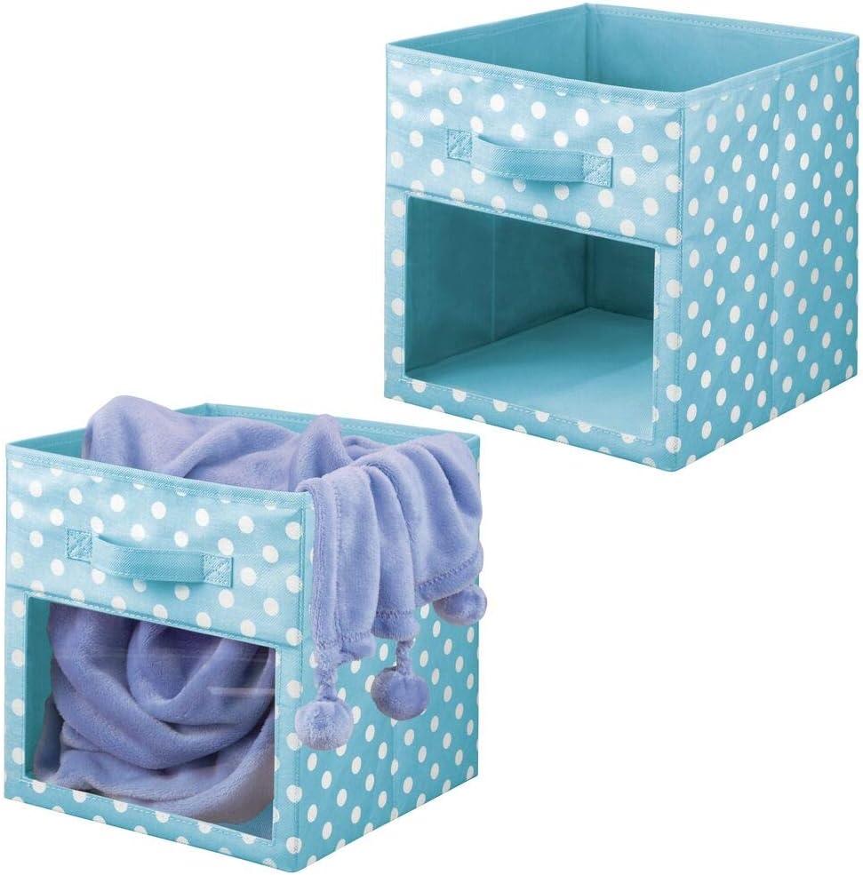 blau und wei/ß mDesign 2er-Set Aufbewahrungsbox f/ür Spielsachen oder Kleidung Faltbare Spielzeugkiste aus Stoff w/ürfelf/örmige Stoffbox mit Griff und Sichtfenster