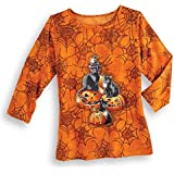 "Women's Halloween Spider Web, Black Cats and Pumpkins 3/4"" Sleeve Top with Sequin Details, Multicolored"