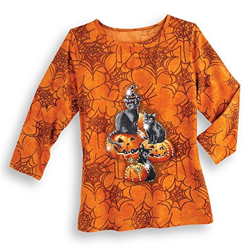 Women's Halloween Spider Web, Black Cats and Pumpkins 3/4