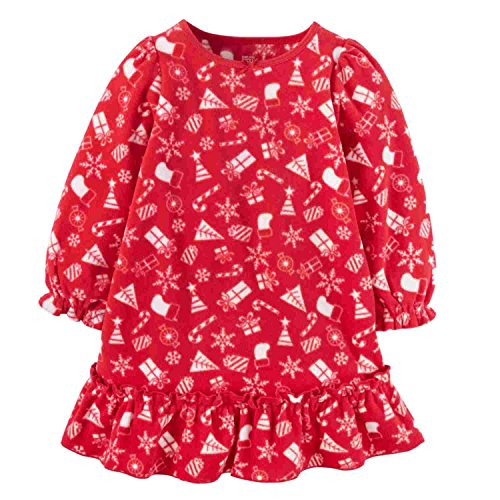 Just One You by Carter's Girls' Fleece Holiday Night Gown - Red (2T) - Holiday Gown Sets