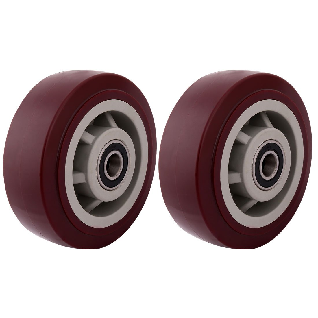 uxcell 5'' Polyurethane on Hard plastic Wheel, Replacement For Carts, Furniture, Dolly, Workbench, Trolley, Wheel Only, Red Set of 2