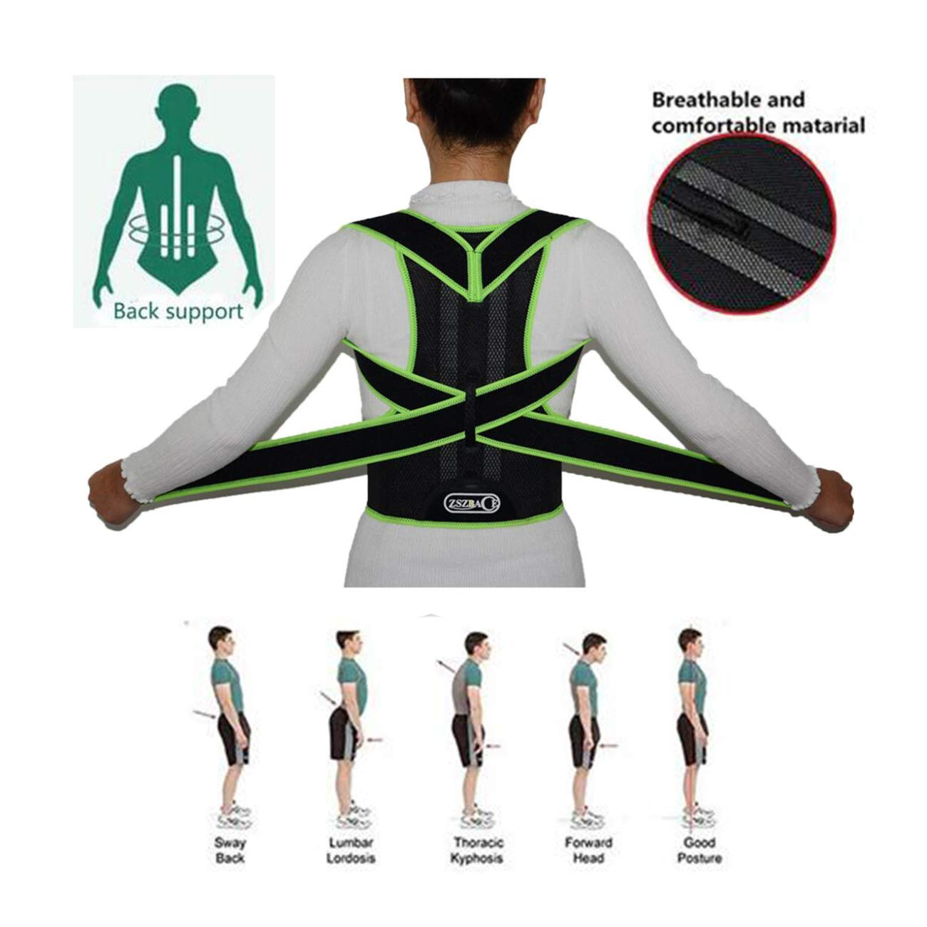 Correction of spinal support, breathable back support,lower back support, relieve back pain. (XL)