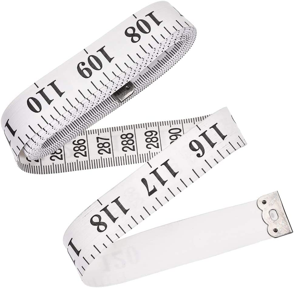 uxcell Cloth Tape Measure for Body 300cm 120 Inch Metric Inch Measuring Tape Soft Dual Sided for Tailor Sewing White