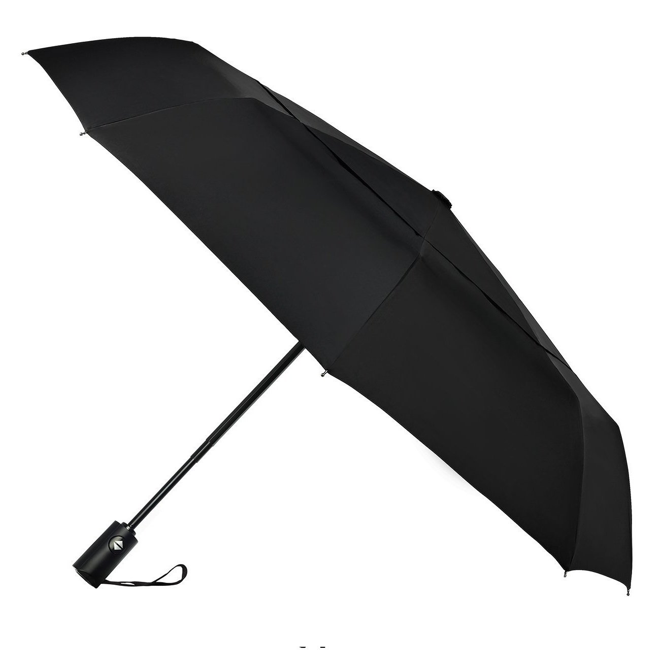 Windproof Travel Umbrella, Double Canopy Construction, Automatic Open Close for One Handed Operation, Compact Lightweight Umbrella for Rain Snow (23, Black) penkou