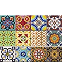 Tile Stickers 24 PC Set Traditional Talavera Tiles Stickers Bathroom & Kitchen Tile Decals Easy to Apply Just Peel & Stick Home Decor 6x6 Inch (Kitchen Tiles Stickers C1)