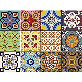 Tile Stickers 24 Pc Set Traditional Talavera Tiles Stickers Bathroom Kitchen Tile Decals Easy To Apply Just Peel Stick Home Decor 6x6 Inch Kitchen