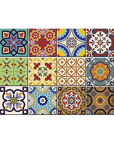 Tile Stickers 24 PC Set Traditional Talavera Tiles Stickers Bathroom & Kitchen Tile Decals Easy to Apply Just Peel & Stick Home Decor 6x6 Inch (Kitchen Tiles Stickers C1) ()