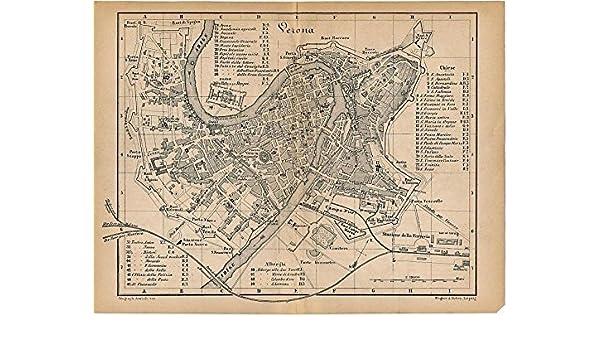 Amazon Com Verona Italy 1879 Lithograph City Plan Map