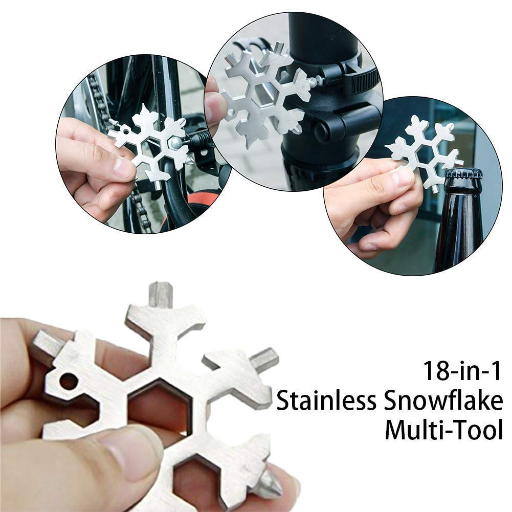 Bobopai 18-in-1 Stainless Steel Multi-Tool Mini Portable Snowflake Multi Tool Black Screwdriver Bottle Opener Keychain Anti-Lost Incredible Tool for Military Enthusiasts and Outdoor EDC Tool /¡/
